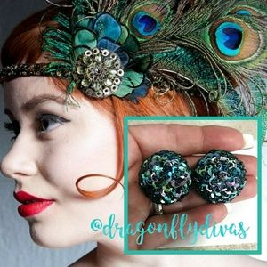 Vintage 50s Beaded Sequins Dome Clip Earrings